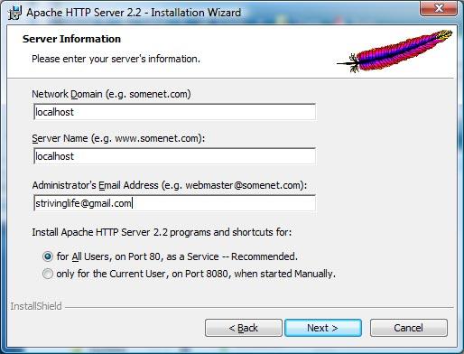 Apache 2.2.9 Install Server Information