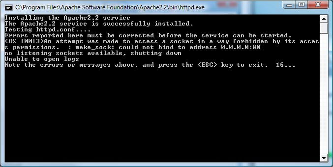 Apache 2.2.9 Install - Apache fails to start