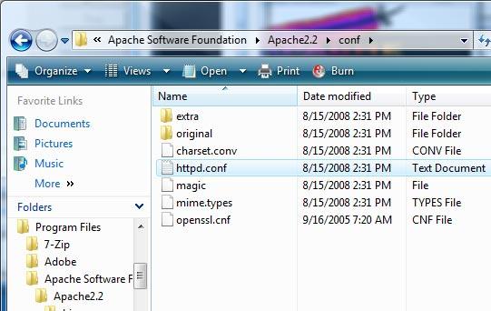 Apache 2.2.9 Install - httpd.conf