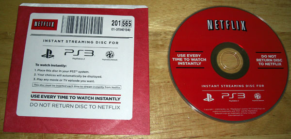 Netflix Instant Streaming Disc for Playstation 3