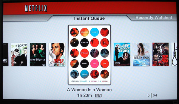 Netflix disc interface on Playstation 3