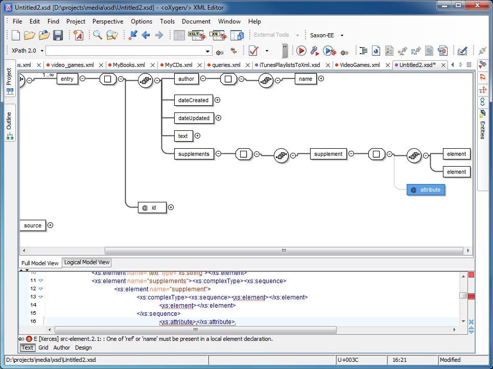 XML Schema Definition creation: Journal - Part 2: XSD file with