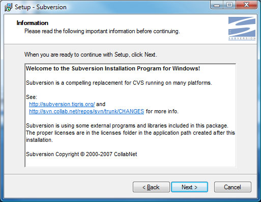 Subversion Setup Screen 3