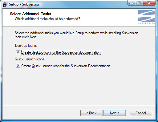 Subversion Setup Screen 6