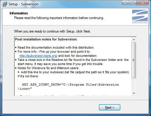 Subversion Setup Screen 8